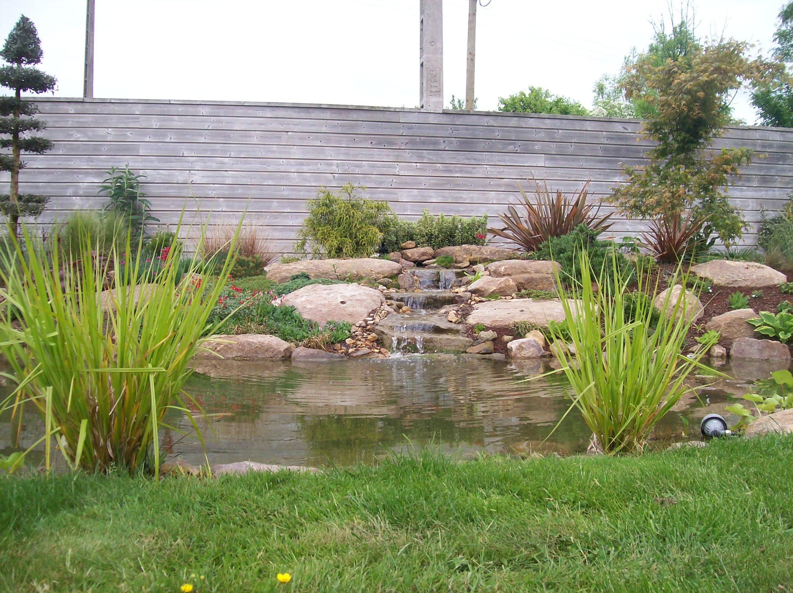 bassin cascade pierres naturelles plantations oase brochard paysage soulge sur ouette