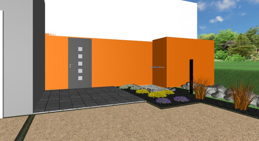 plan 3d entrée de maison saint baudelle brochard paysage