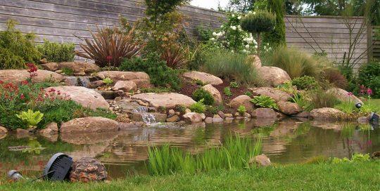 bassin cascade éclairage rocailles brochard paysage soulge sur ouette